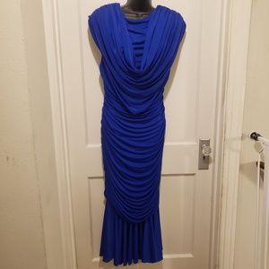 80's Vintage Casadei Ruched Royal Blue Dress